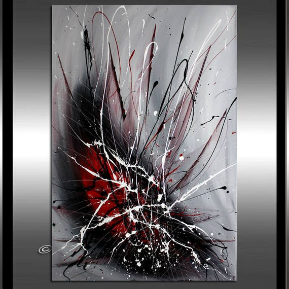 Red Black Abstract Painting Black And White Art Red Abstract Art On Canvas Modern Original Art Dimensions 36 X 24 Framed Ready To Hang