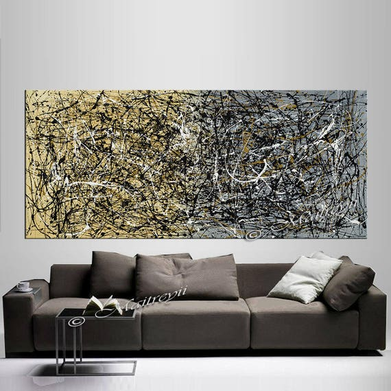 Gold Silver Jackson Pollock Style Large Wall Art Abstract Painting On Canvas Luxury Style Oil Painting By Maitreyii