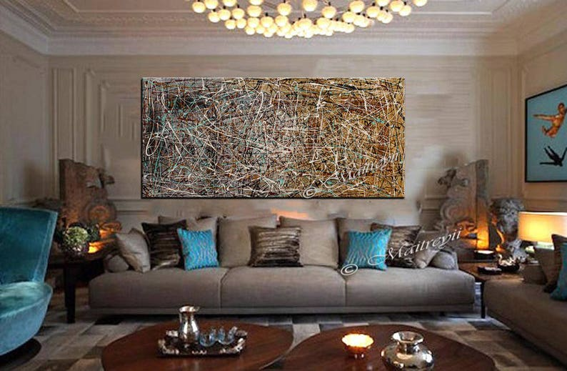 Brown Gold Painting Beautiful Abstract Luxury Painting Loft Art Modern Decor