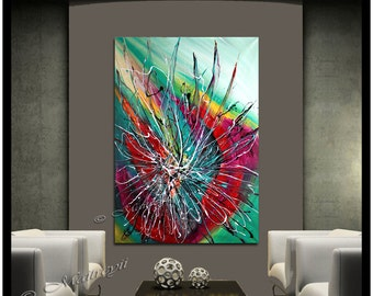 Oil Painting OVERSIZED LARGE abstract art on Canvas - Red Teal Modern Original artwork size 52 x 32 Ground Shipping