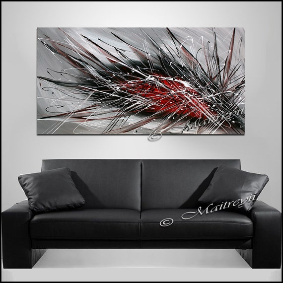 Black White And Red Paintings For Sale Modern Wall Art Etsy