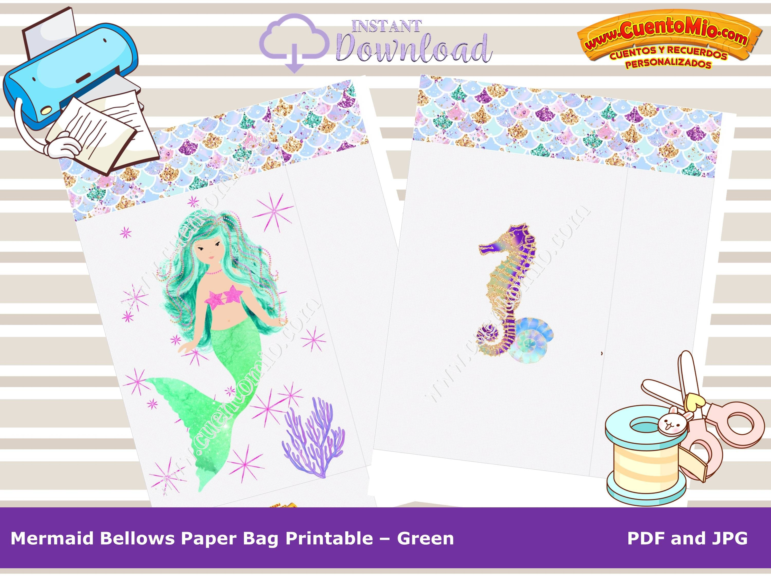 image relating to Printable Mermaid titled Mermaid Handle Luggage, Printable Mermaid Luggage, Do it yourself, Instantaneous Obtain, Environmentally friendly Mermaid, Mermaid Bag, Printable Mermaid Paper Bag, Emerald Mermaid