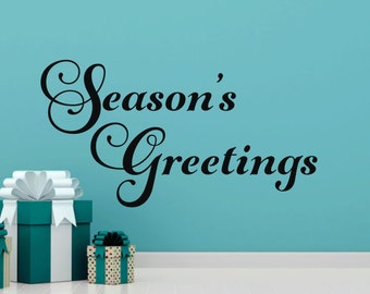 Seasons Greetings Decal Christmas Wall Decal Holiday Wall Decor Christmas Vinyl Decal Christmas Decor Holiday Vinyl Decal
