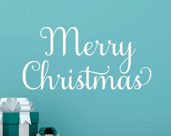 Merry Christmas Wall Decal Merry Christmas Decal Holiday Wall Decor Christmas Vinyl Decal Christmas Decor Holiday Vinyl Decal