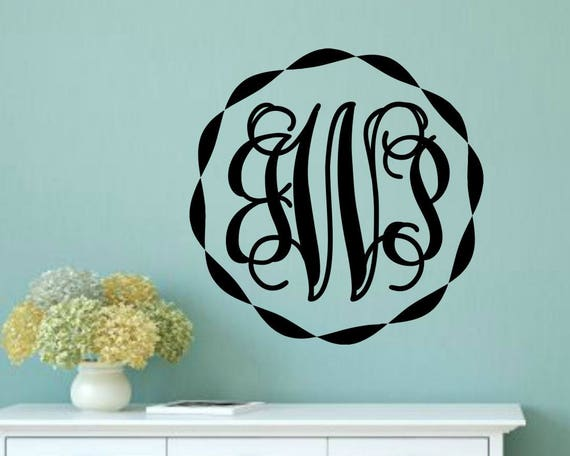 Vinyl Monogram Decal Monogram Wall Decal Monogram Vinyl Decal Etsy