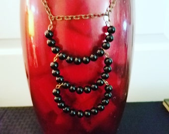 Triple layer bead necklace