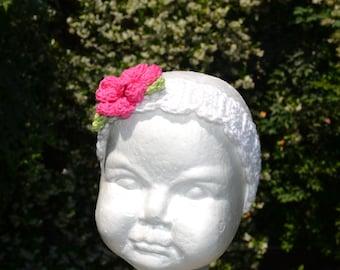 Crocheted Girls Headband With Crocheted Flower