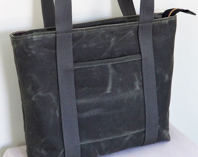 Waxed Canvas Zip Top Tote / Canvas Tote / Made to Order