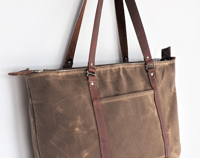 Wax Canvas with Leather Tote / Diaper Bag / Solid or Stripe Lining / Customize with your Own Fabric Combination