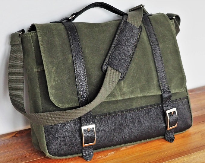 Waxed Canvas Messenger Bag/ Interior Laptop Sleeve / Leather Accents