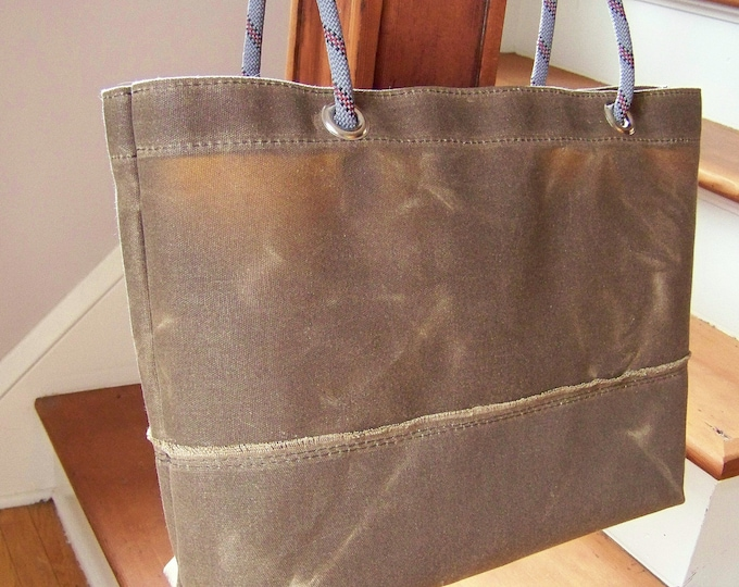 Waxed Canvas Tote /  Rope Handle Bag