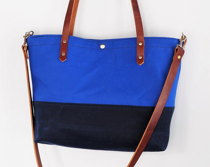 Canvas Tote with Leather / Detachable Shoulder Strap