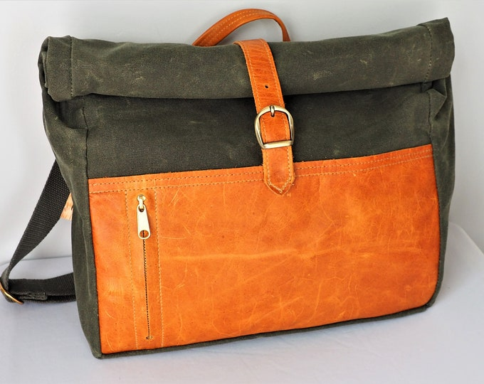 Roll Top Messenger Bag / Waxed Canvas / Leather