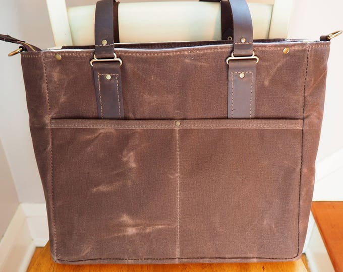 Diaper Tote / Animal Print Interior /Waxed Canvas and Leather
