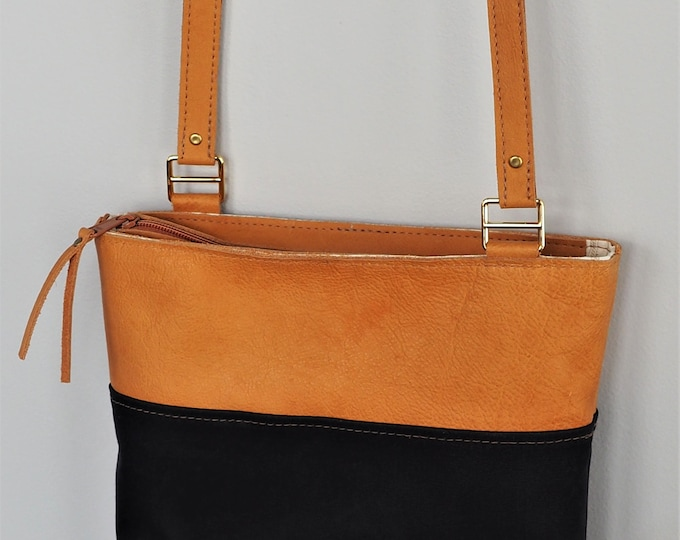 Leather and Wax Canvas Cross Body Bag