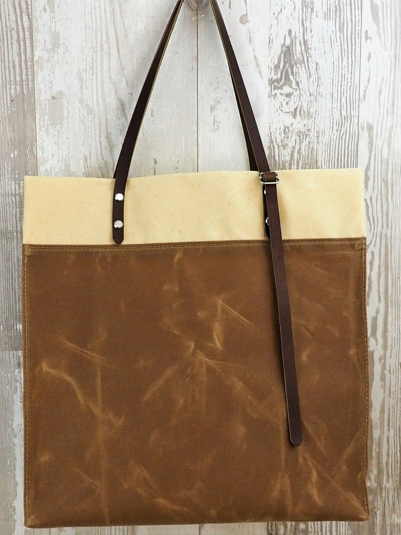 Waxed Canvas Grocery Bag  Market Tote  Bucket Bag  Adjustable Strap