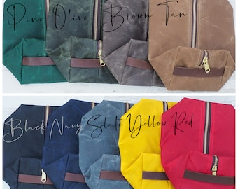 Waxed Canvas Dopp Kit / Toiletry Kit /  Travel Bag / Shave Kit / Lined