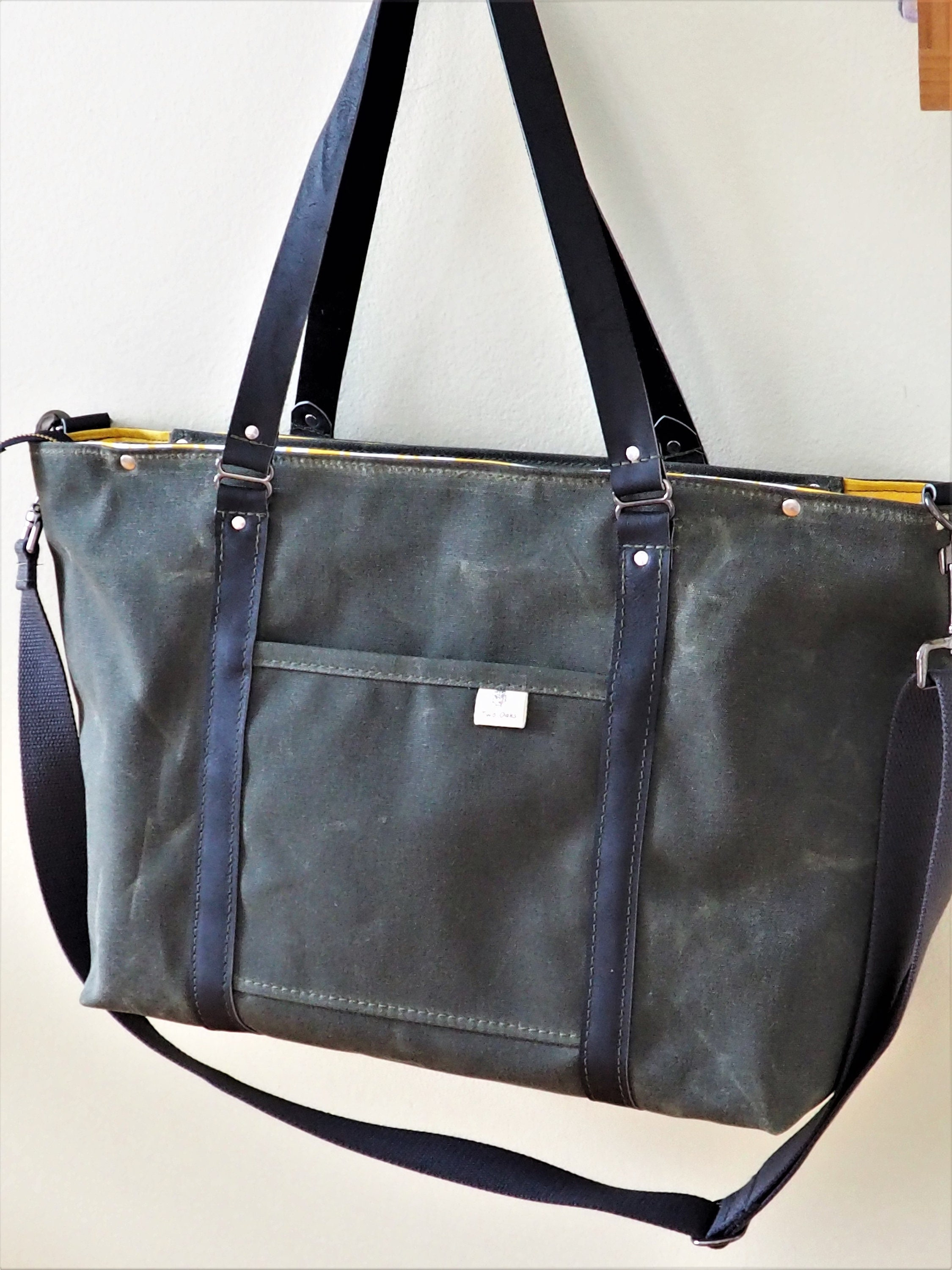 Diaper Bag / Animal Print Lining / Waxed Canvas and Leather