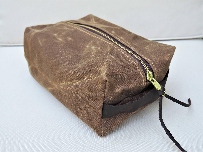 Waxed Canvas Dopp Kit   Toiletry Kit   Travel Bag   Shave Kit   Lined dc8e088052cf3