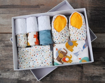 Baby shower gift box set, *design your own*, baby shoes, dribble bibs, burp cloth, new baby gift, one of a kind