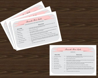 romantic movie quotes game printable with answer key for wedding engagement or bridal shower even bachlorette or valentineparties