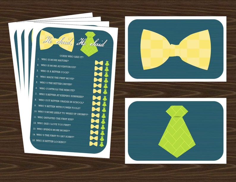Wedding Trivia Game Printable with Neck and Bow Ties Response image 0