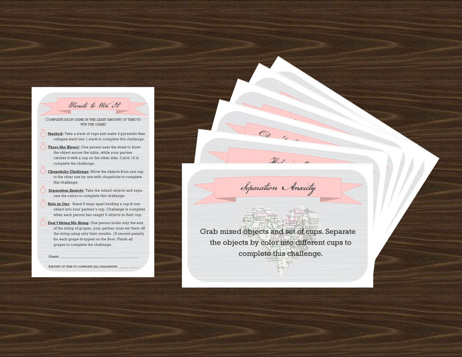 Minute to Win It Game Printable for your Engagement Bridal or   Etsy