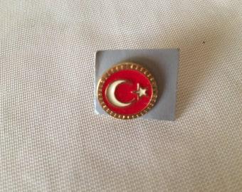 Turkish Flag Badge, Vintage Rosette, Plated Metal, Pin.