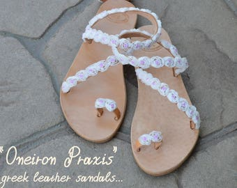 "FREE SHIPPING-Bridal Sandals ""Αlkioni""-Greek Leather Sandals-Decorated Sandals-Flowers Shoes-Wedding shoes-T-strap Sandals"