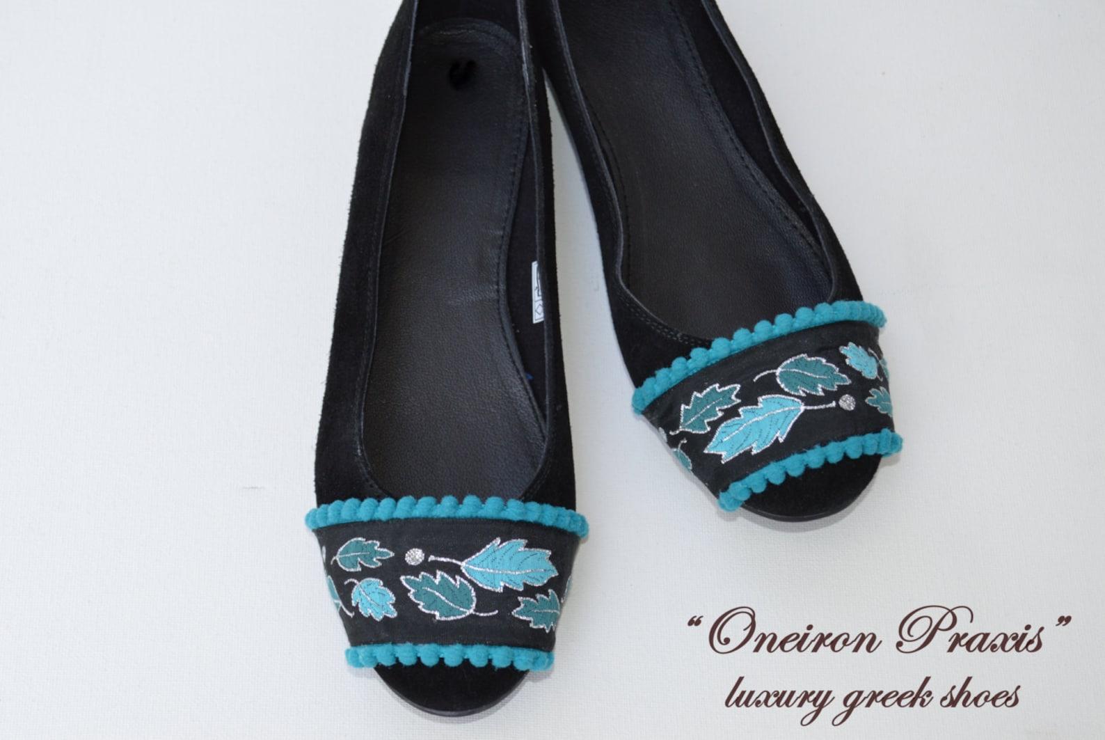 flat shoes / artistic shoes / suede ballet flats / womens shoes / black flat shoes / ballet shoes / black suede shoes