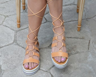 Gladiator sandals with leather laces,Luxury Ancient Greek Sandals,Spartan Sandals, Bridal sandals,Greek sandals , Mythology inspired Sandals