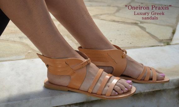 Antique grec sandales, Hermes ailé grec sandales, sandales en cuir naturel, inspiré de la mythologie sandales, sandales en cuir grec