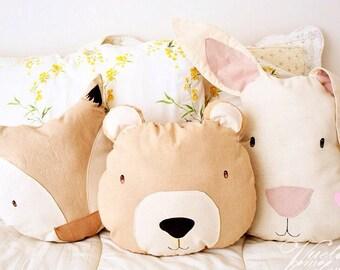 Bear Cushion Natural Dye- Cushion,Children's decor, Bear,Nursery Cushion,pillow,handmade,Spring,decor,decoracion,cojin,oso,bed,cojin oso