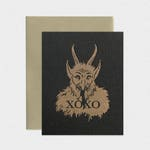 Krampus/ Demonic / Satanic XOXO Black Letterpress Greeting Card