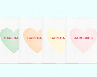 "Valentine's Day ""Bareback"" Letterpress Gay Queer LGBT Card"