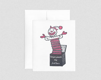 Tongue Punch My Fart Box Jack in the Box Clown   Letterpress Greeting Card