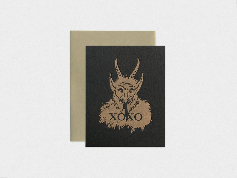 Krampus/ Demonic / Satanic XOXO Black Letterpress Christmas image 0