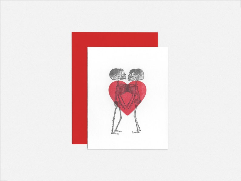 Letterpress Conjoined Twins Skeleton Love / Anniversary / image 0