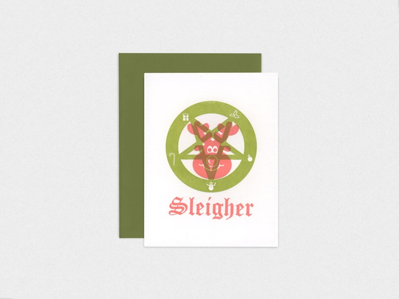 Sleigher  Letterpress Satanic Christmas Holiday Card image 0