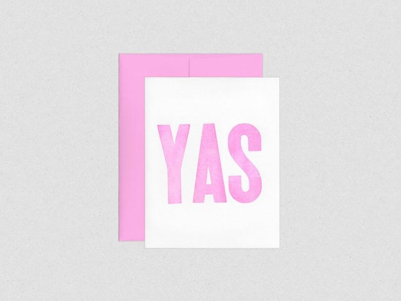 YAS  Pink Letterpress Wood Type Congratulations Card image 0
