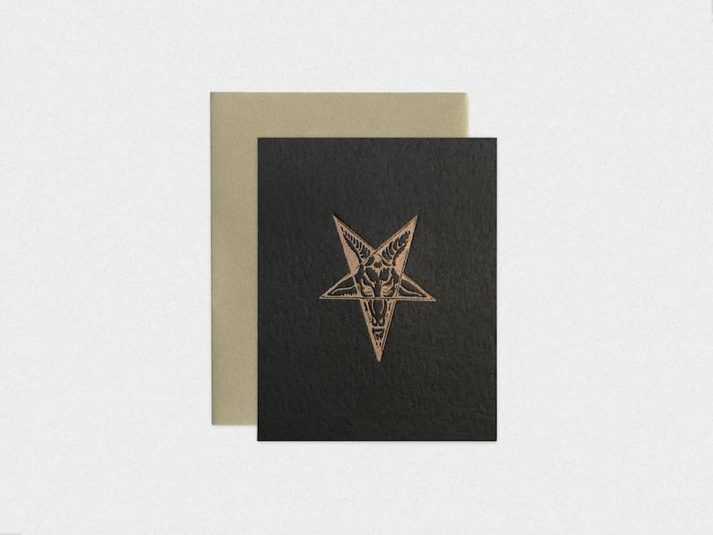 Baphomet Satanic Pentagram Black Letterpress Greeting Card image 0