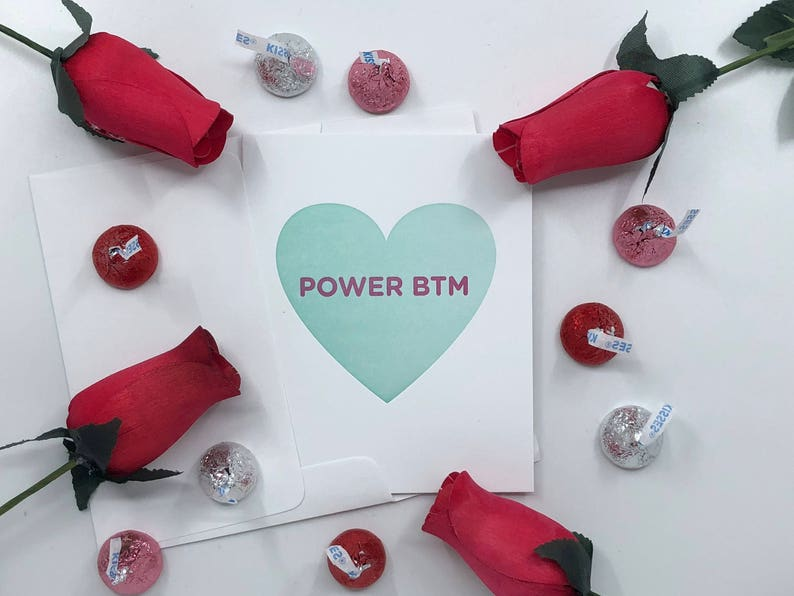 Valentine/'s Day Power Bottom Letterpress Gay Queer LGBT Candy Heart Card