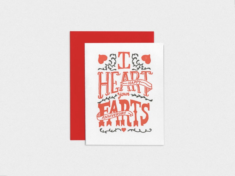 I Heart Your Farts  Letterpress Anniversary Card image 0