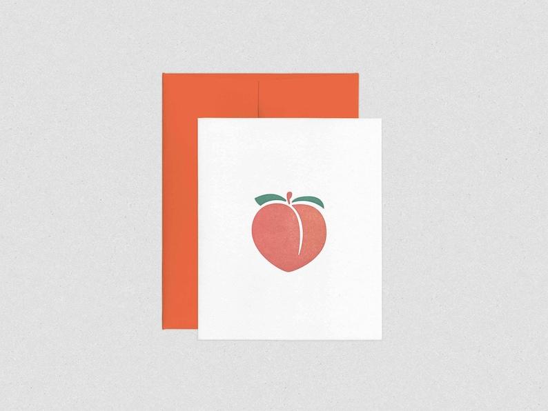Letterpress Peach Emoji Anniversary / Romance Greeting Card  image 0