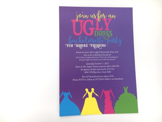 Ugly dress bachelorette party invitation bridesmaid dress etsy image 0 m4hsunfo