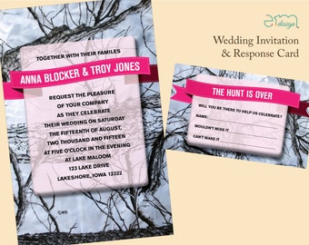 Camo Wedding Invitation, Hunt is Over RSVP Card Camouflage Invitation White Camo Invitation, Pink Camo Invitation, Camouflage Wedding Invite