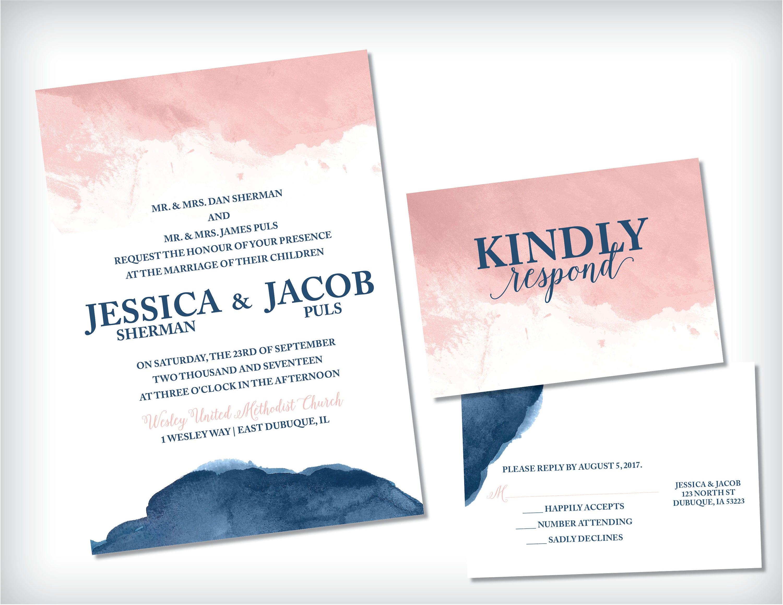 Blush Navy Invitation Blush and Navy Wedding Invitation | Etsy