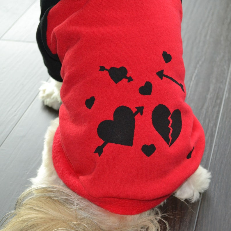Dog Hoodie Handmade Valentines Day Hearts