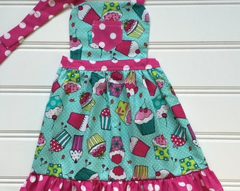Cupcake Apron for Kids, Toddler Apron, Kid Apron, Child Apron, Little Girl Apron, Kids Cooking Apron, Kitchen Apron, Aqua Apron, Pink Apron