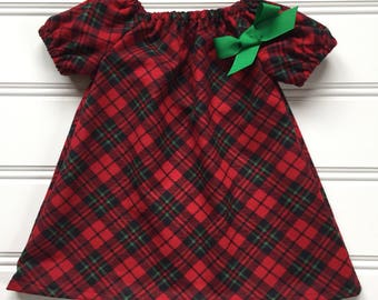 christmas dress for girl baby christmas dress toddler christmas dress holiday dress girl winter dress plaid dress flannel dress